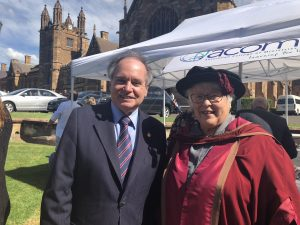Photo of The Hon David Clarke MLC with Professor Diane Speed at the 2018 SCD graduation ceremony.